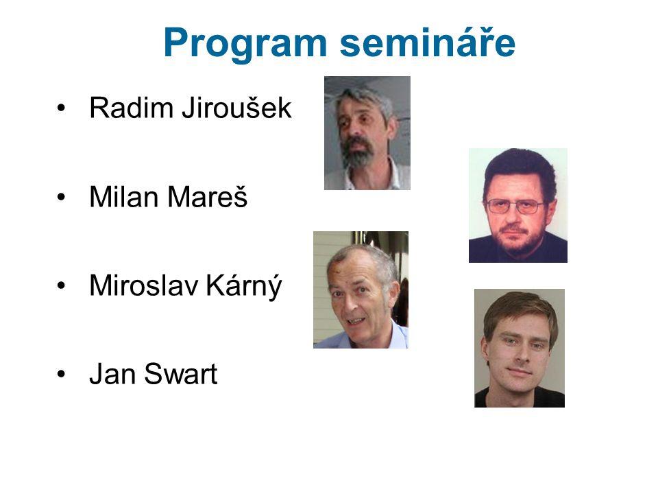 Program semináře Radim Jiroušek Milan Mareš Miroslav Kárný Jan Swart