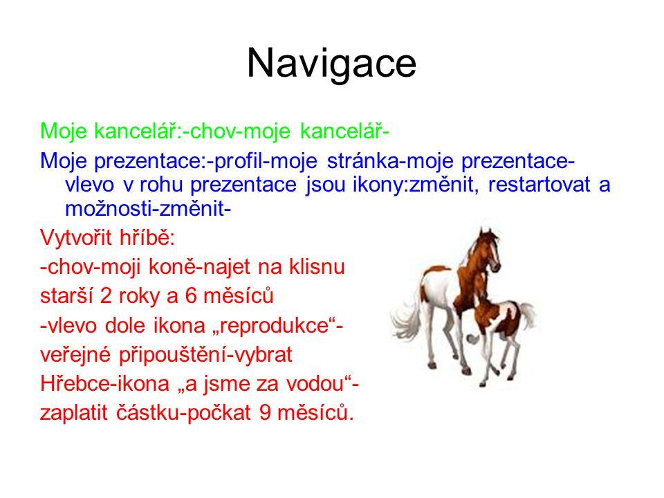 Navigace Moje kancelář:-chov-moje kancelář- Moje prezentace:-profil-moje stránka-moje prezentace- vlevo v rohu prezentace jsou ikony:změnit, restartov