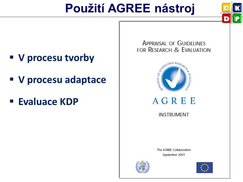 Použití AGREE nástroj  V procesu tvorby  V procesu adaptace  Evaluace KDP CK DP