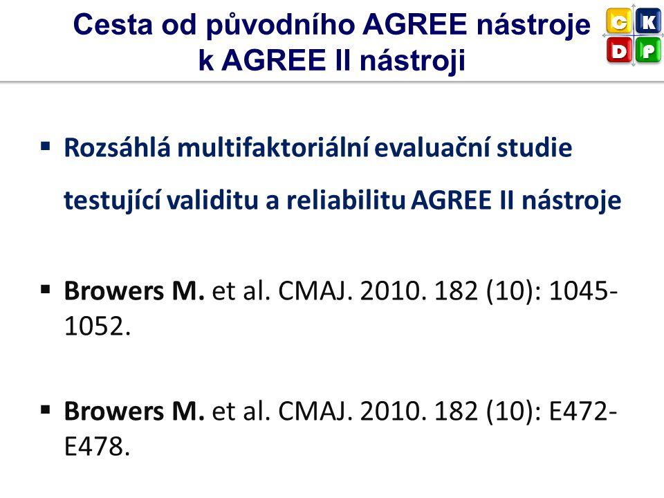  Rozsáhlá multifaktoriální evaluační studie testující validitu a reliabilitu AGREE II nástroje  Browers M. et al. CMAJ. 2010. 182 (10): 1045- 1052.