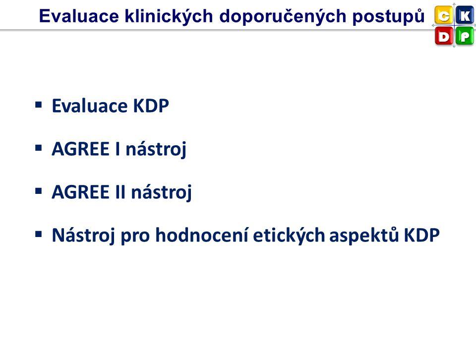  Evaluace KDP  AGREE I nástroj  AGREE II nástroj  Nástroj pro hodnocení etických aspektů KDP Evaluace klinických doporučených postupů CK DP