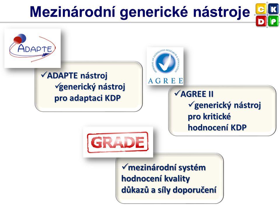 Mezinárodní generické nástroje AGREE II AGREE II generický nástroj pro kritické hodnocení KDP generický nástroj pro kritické hodnocení KDP ADAPTE nást
