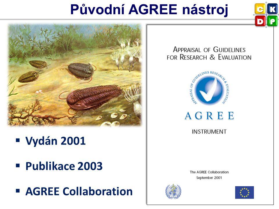 Původní AGREE nástroj  Vydán 2001  Publikace 2003  AGREE Collaboration CK DP