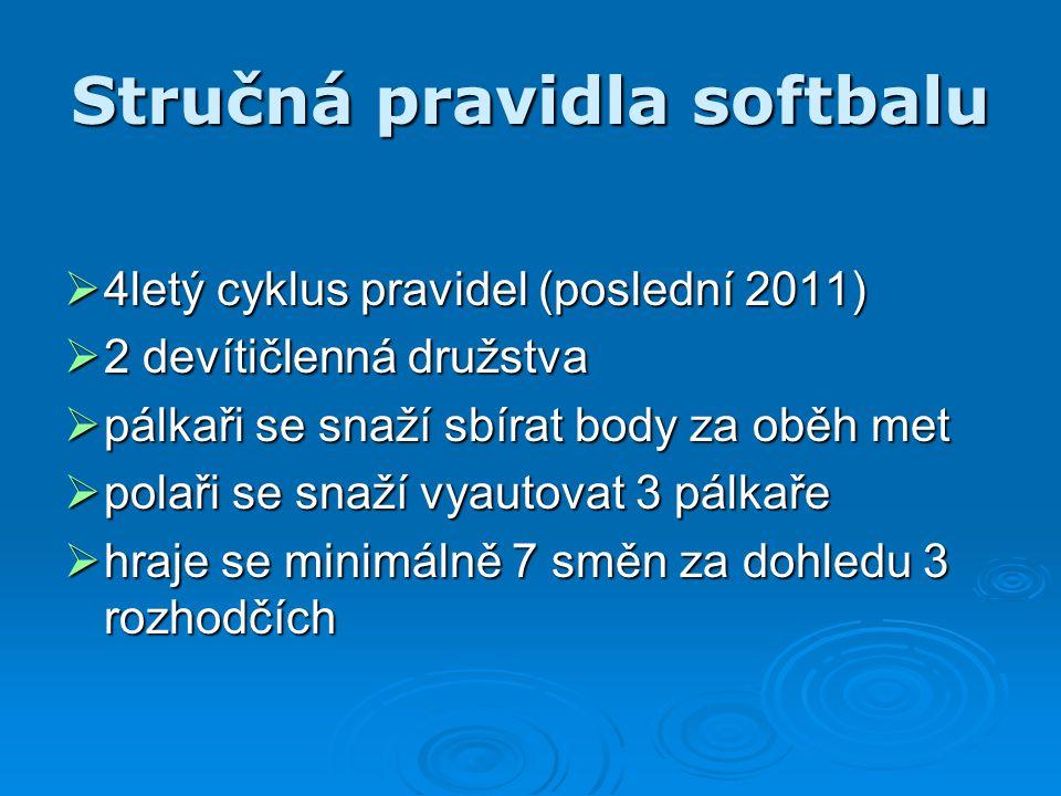 Stručná pravidla softbalu  4letý cyklus pravidel (poslední 2011)  2 devítičlenná družstva  pálkaři se snaží sbírat body za oběh met  polaři se sna
