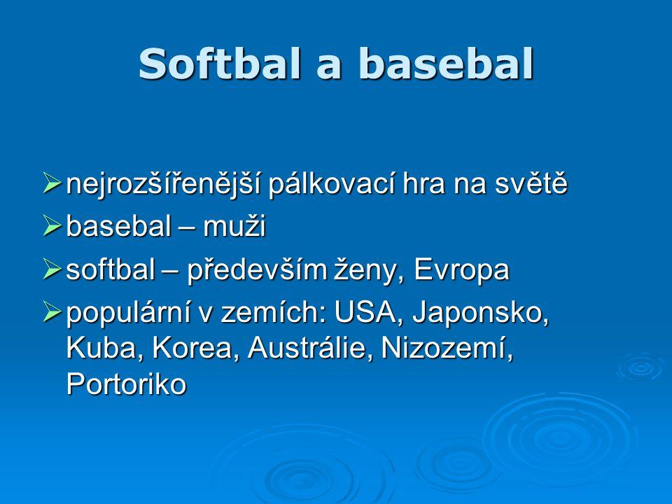 Softbal a basebal  nejrozšířenější pálkovací hra na světě  basebal – muži  softbal – především ženy, Evropa  populární v zemích: USA, Japonsko, Ku