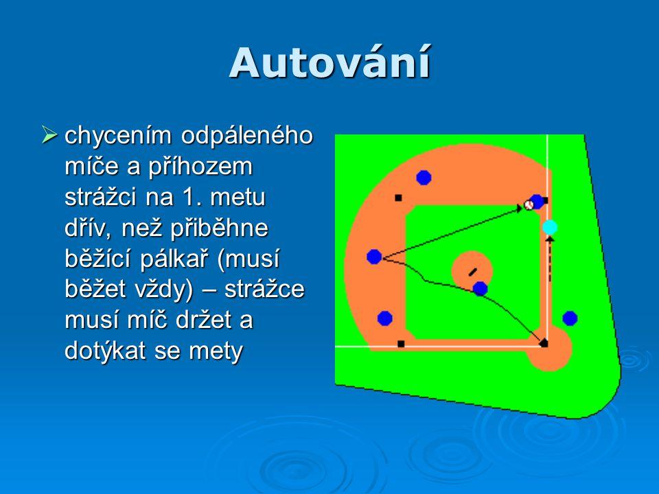 Autování  chycením odpáleného míče a příhozem strážci na 1. metu dřív, než přiběhne běžící pálkař (musí běžet vždy) – strážce musí míč držet a dotýka