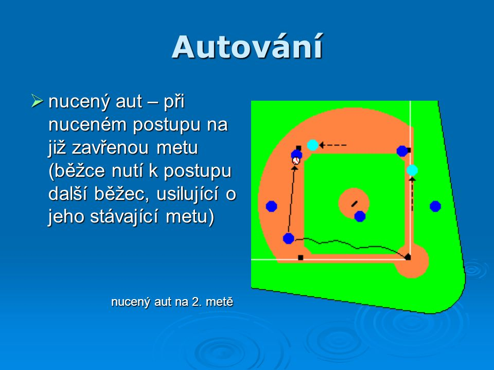 Autování  nucený aut – při nuceném postupu na již zavřenou metu (běžce nutí k postupu další běžec, usilující o jeho stávající metu) nucený aut na 2.