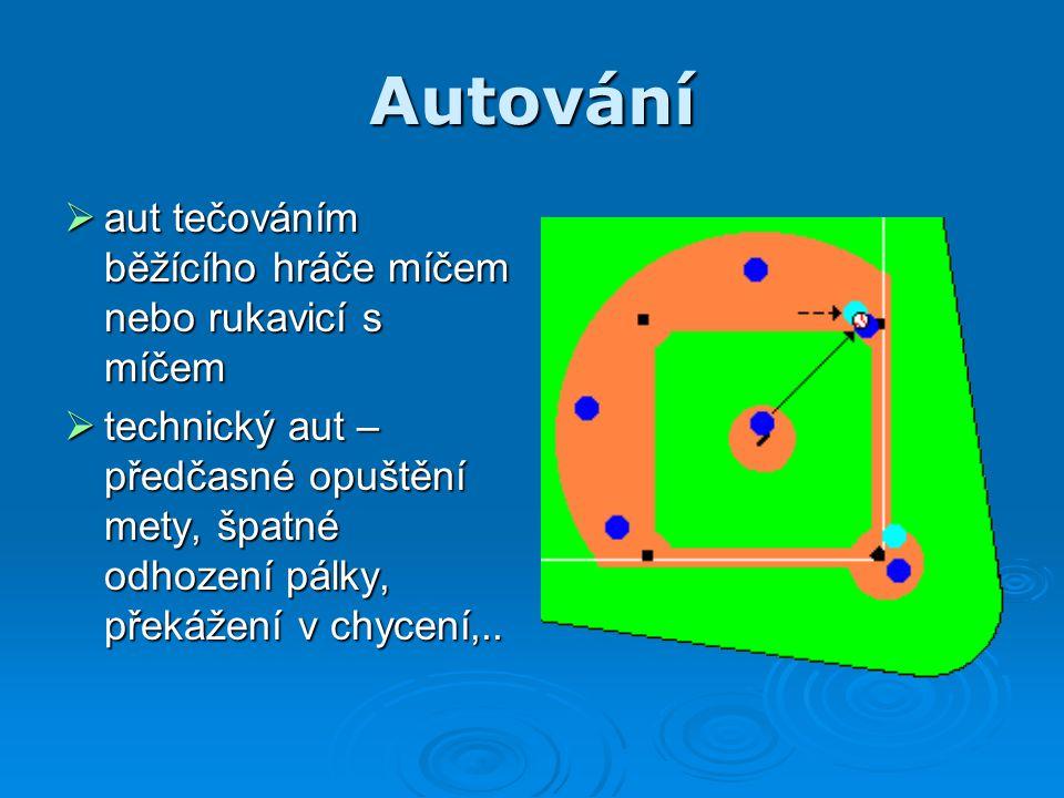 Autování  aut tečováním běžícího hráče míčem nebo rukavicí s míčem  technický aut – předčasné opuštění mety, špatné odhození pálky, překážení v chyc