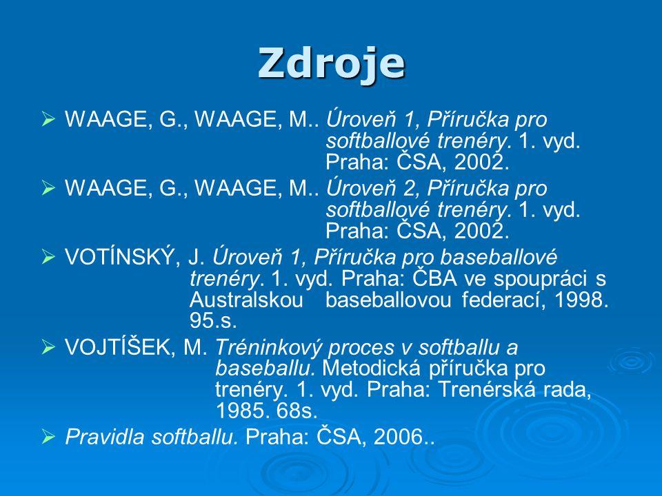 Zdroje   WAAGE, G., WAAGE, M.. Úroveň 1, Příručka pro softballové trenéry. 1. vyd. Praha: ČSA, 2002.   WAAGE, G., WAAGE, M.. Úroveň 2, Příručka pr