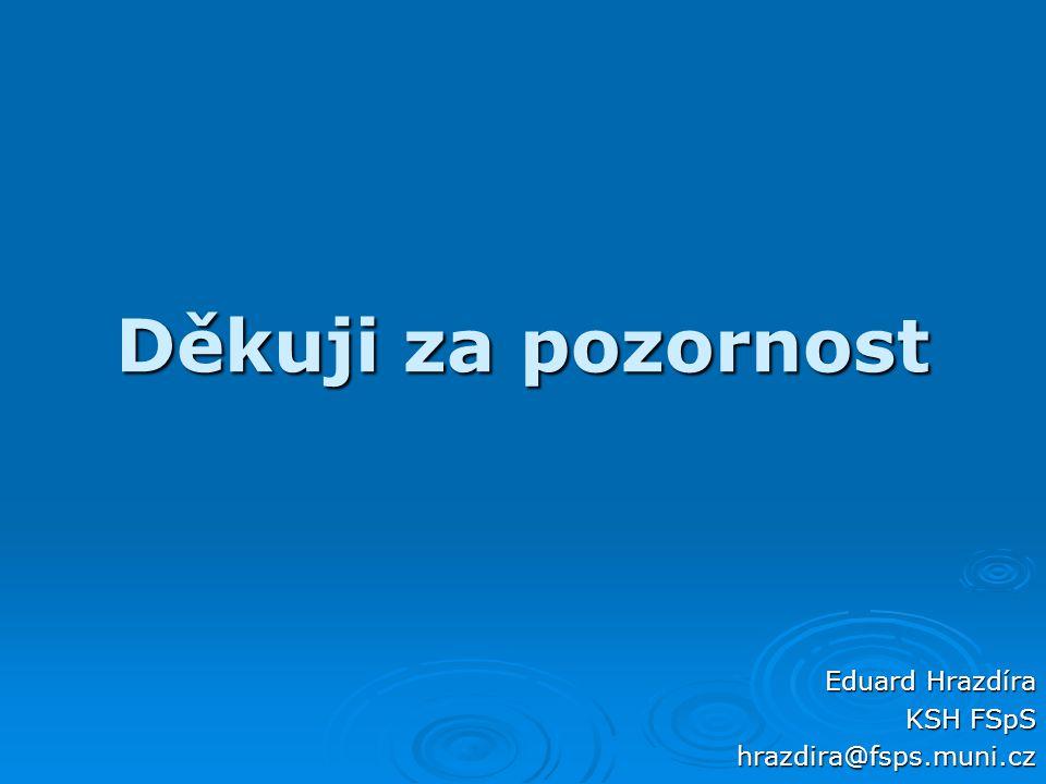 Děkuji za pozornost Eduard Hrazdíra KSH FSpS hrazdira@fsps.muni.cz