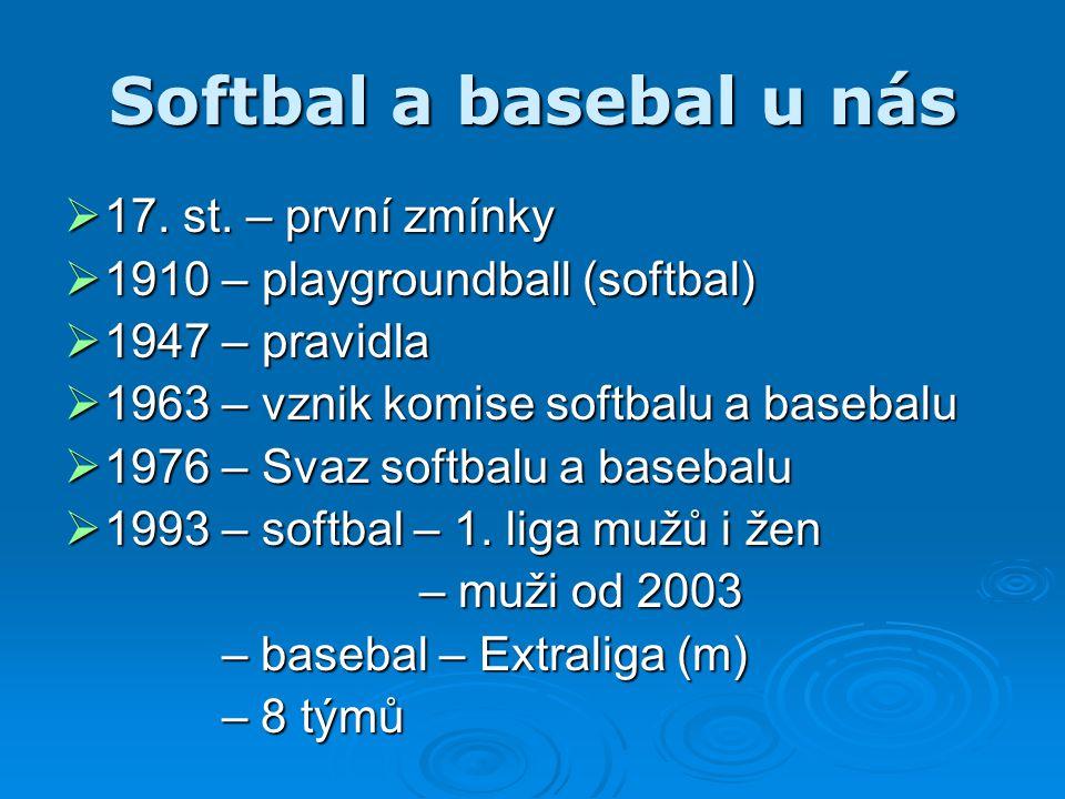 Softbal a basebal u nás  17. st. – první zmínky  1910 – playgroundball (softbal)  1947 – pravidla  1963 – vznik komise softbalu a basebalu  1976