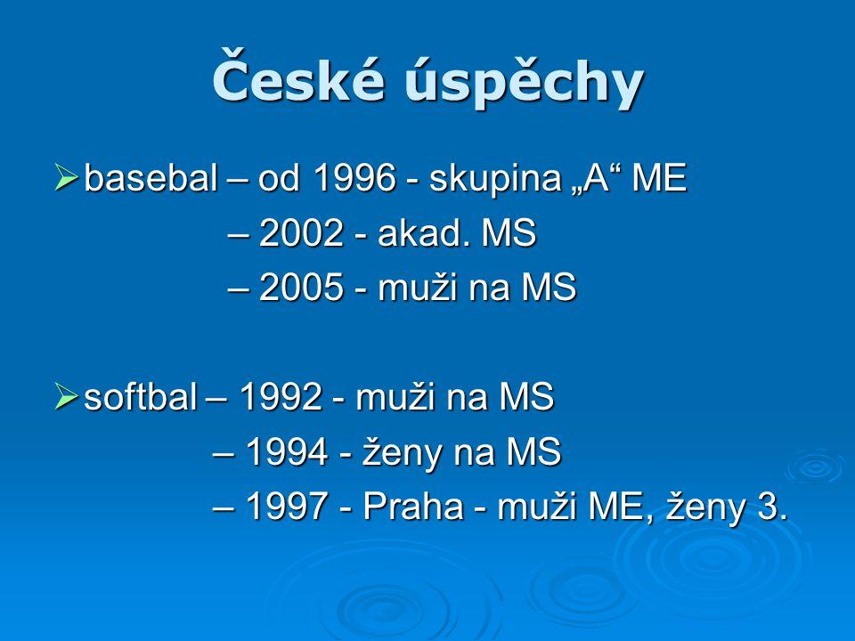 """České úspěchy  basebal – od 1996 - skupina """"A"""" ME – 2002 - akad. MS – 2005 - muži na MS  softbal – 1992 - muži na MS – 1994 - ženy na MS – 1994 - že"""