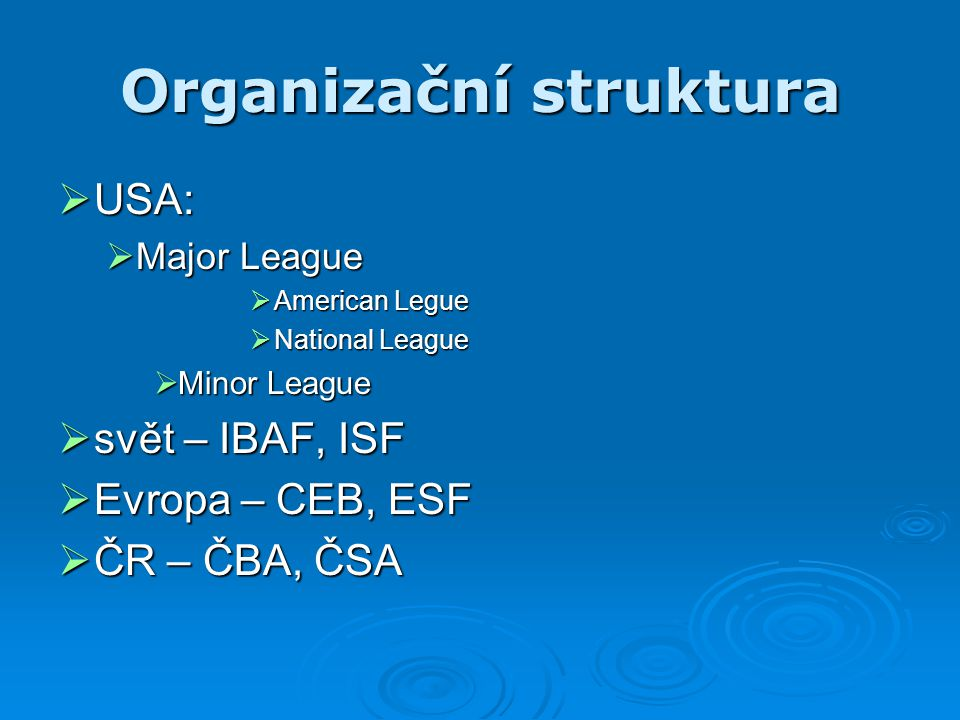 Organizační struktura  USA:  Major League  American Legue  National League  Minor League  svět – IBAF, ISF  Evropa – CEB, ESF  ČR – ČBA, ČSA