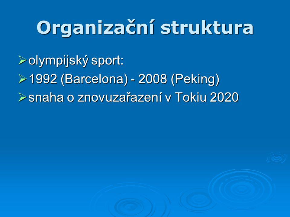 Organizační struktura  olympijský sport:  1992 (Barcelona) - 2008 (Peking)  snaha o znovuzařazení v Tokiu 2020