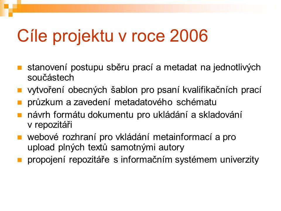 Cíle projektu v roce 2006 stanovení postupu sběru prací a metadat na jednotlivých součástech vytvoření obecných šablon pro psaní kvalifikačních prací