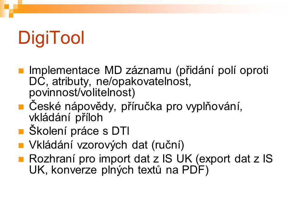 DigiTool Implementace MD záznamu (přidání polí oproti DC, atributy, ne/opakovatelnost, povinnost/volitelnost) České nápovědy, příručka pro vyplňování,