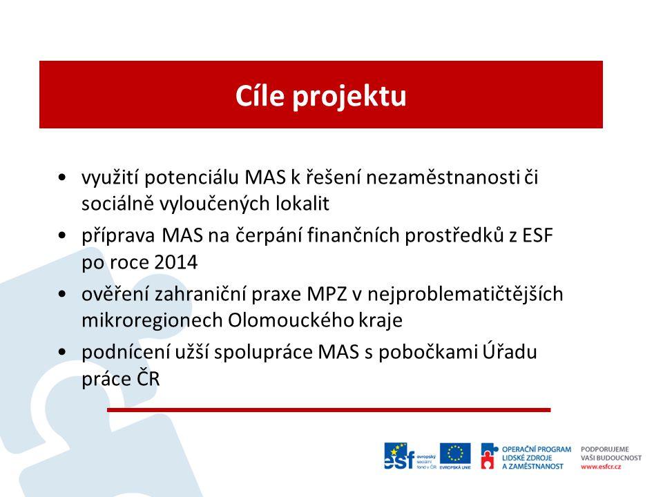 Cíle projektu využití potenciálu MAS k řešení nezaměstnanosti či sociálně vyloučených lokalit příprava MAS na čerpání finančních prostředků z ESF po roce 2014 ověření zahraniční praxe MPZ v nejproblematičtějších mikroregionech Olomouckého kraje podnícení užší spolupráce MAS s pobočkami Úřadu práce ČR