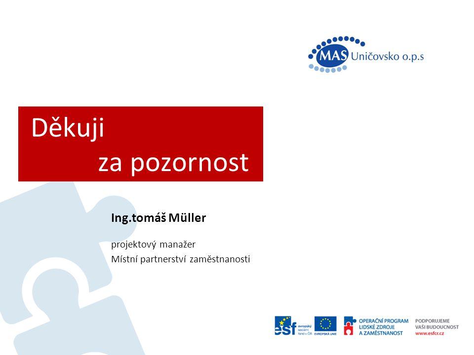 Děkuji za pozornost Ing.tomáš Müller projektový manažer Místní partnerství zaměstnanosti