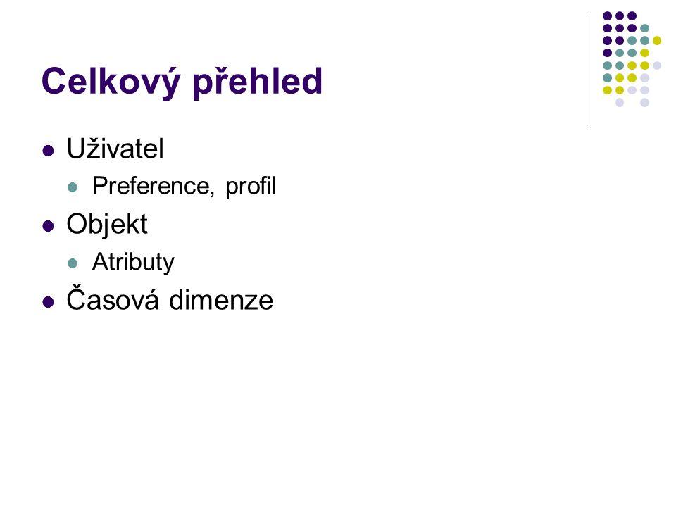 Celkový přehled Uživatel Preference, profil Objekt Atributy Časová dimenze