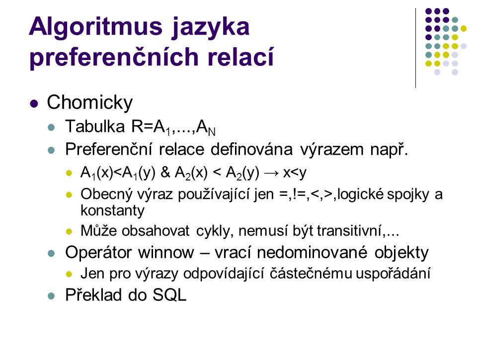 Algoritmus jazyka preferenčních relací Chomicky Tabulka R=A 1,...,A N Preferenční relace definována výrazem např. A 1 (x)<A 1 (y) & A 2 (x) < A 2 (y)