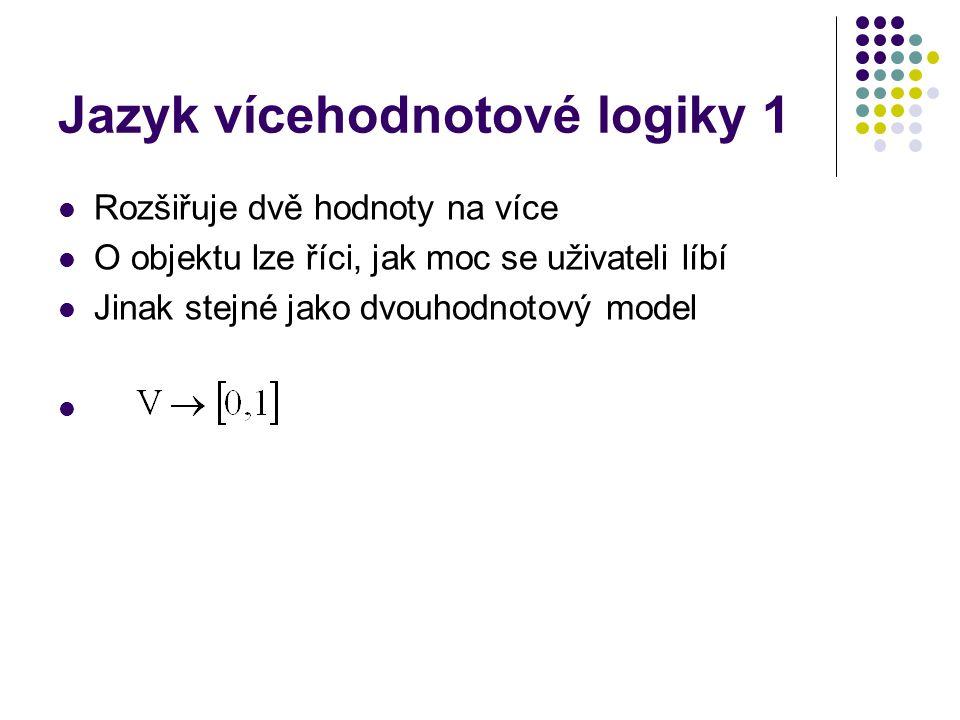Jazyk vícehodnotové logiky 1 Rozšiřuje dvě hodnoty na více O objektu lze říci, jak moc se uživateli líbí Jinak stejné jako dvouhodnotový model
