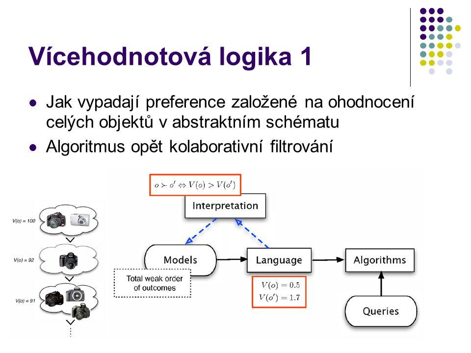 Vícehodnotová logika 1 Jak vypadají preference založené na ohodnocení celých objektů v abstraktním schématu Algoritmus opět kolaborativní filtrování
