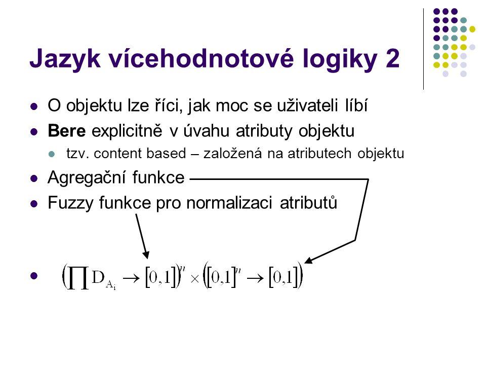 Jazyk vícehodnotové logiky 2 O objektu lze říci, jak moc se uživateli líbí Bere explicitně v úvahu atributy objektu tzv. content based – založená na a