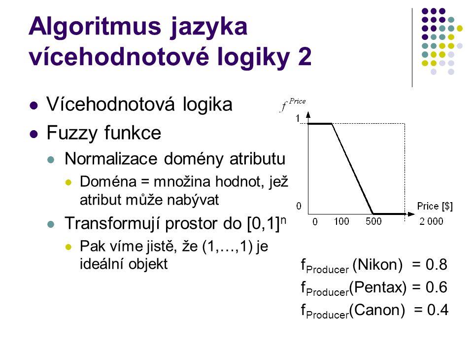 Algoritmus jazyka vícehodnotové logiky 2 Vícehodnotová logika Fuzzy funkce Normalizace domény atributu Doména = množina hodnot, jež atribut může nabýv