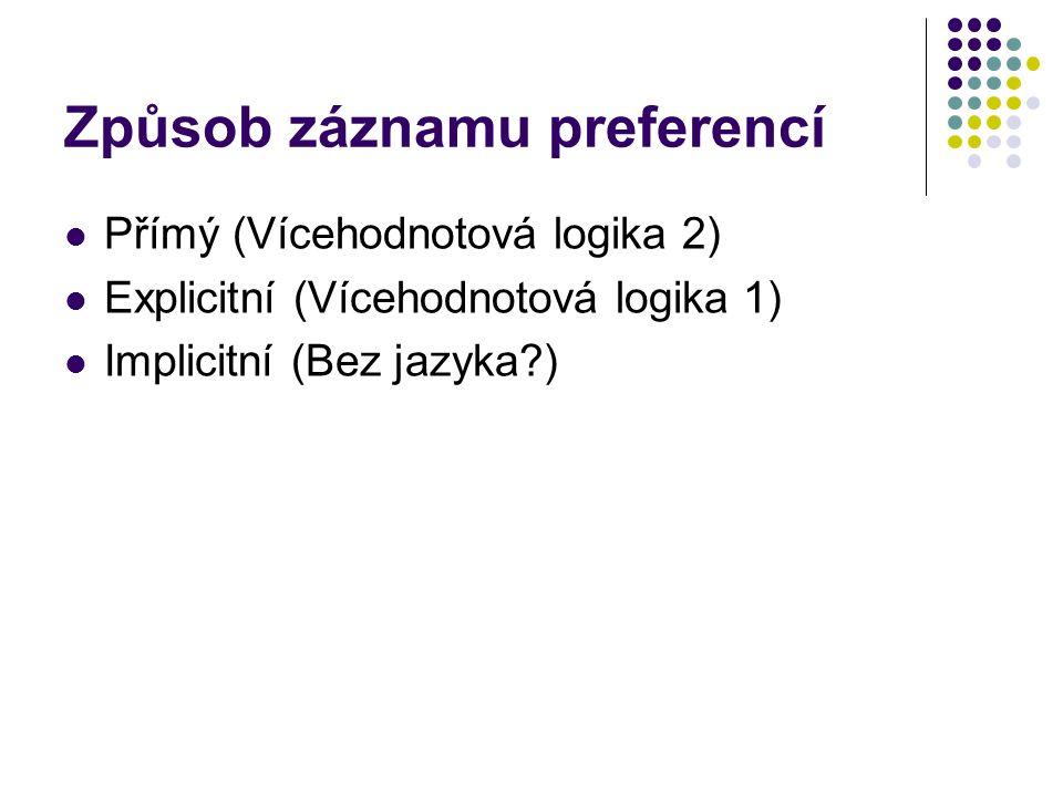 Způsob záznamu preferencí Přímý (Vícehodnotová logika 2) Explicitní (Vícehodnotová logika 1) Implicitní (Bez jazyka?)