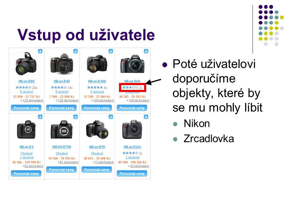 Vstup od uživatele Poté uživatelovi doporučíme objekty, které by se mu mohly líbit Nikon Zrcadlovka