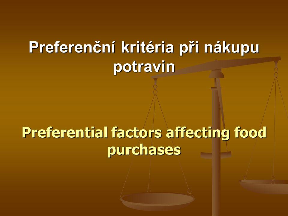 Preferenční kritéria při nákupu potravin Preferential factors affecting food purchases