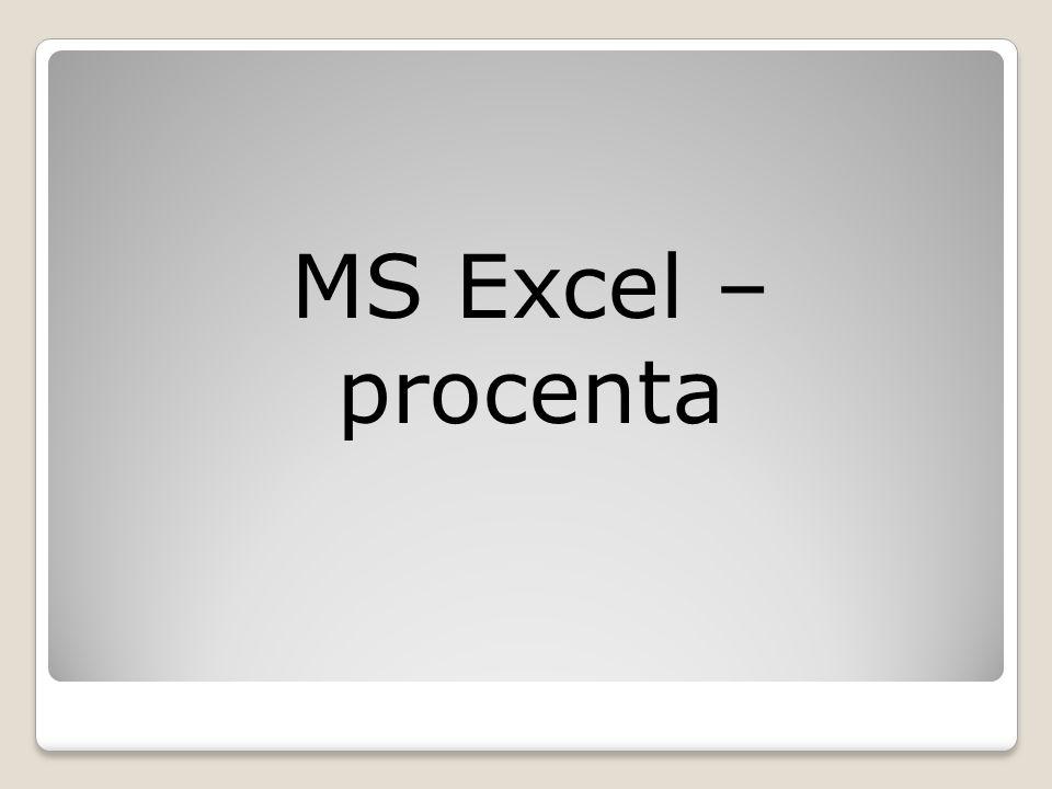 MS Excel – procenta