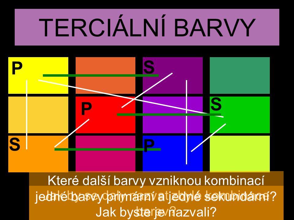 TERCIÁLNÍ BARVY Jak by se daly nazvat zbylé kombinace barev? Které další barvy vzniknou kombinací jedné barvy primární a jedné sekundární? Jak byste j