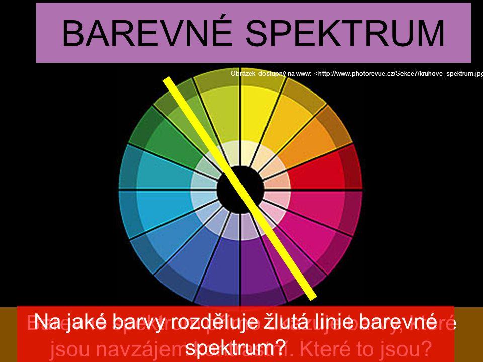 BAREVNÉ SPEKTRUM Obrázek dostupný na www: Barevné spektrum přímo ukazuje barvy, které jsou navzájem kontrastní. Které to jsou? Na jaké barvy rozděluje