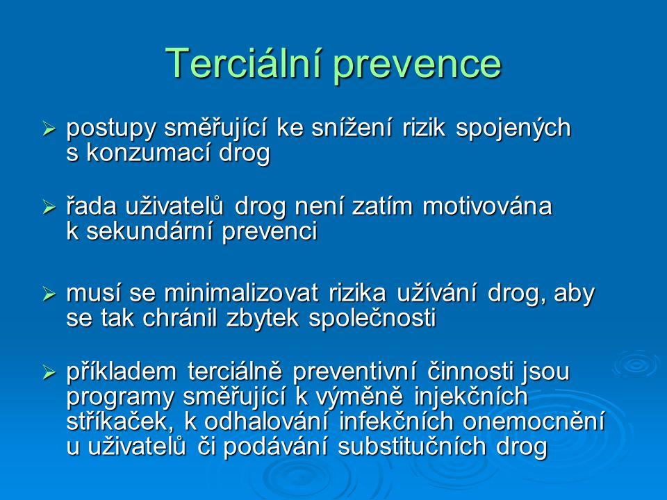 Terciální prevence  postupy směřující ke snížení rizik spojených s konzumací drog  řada uživatelů drog není zatím motivována k sekundární prevenci  musí se minimalizovat rizika užívání drog, aby se tak chránil zbytek společnosti  příkladem terciálně preventivní činnosti jsou programy směřující k výměně injekčních stříkaček, k odhalování infekčních onemocnění u uživatelů či podávání substitučních drog
