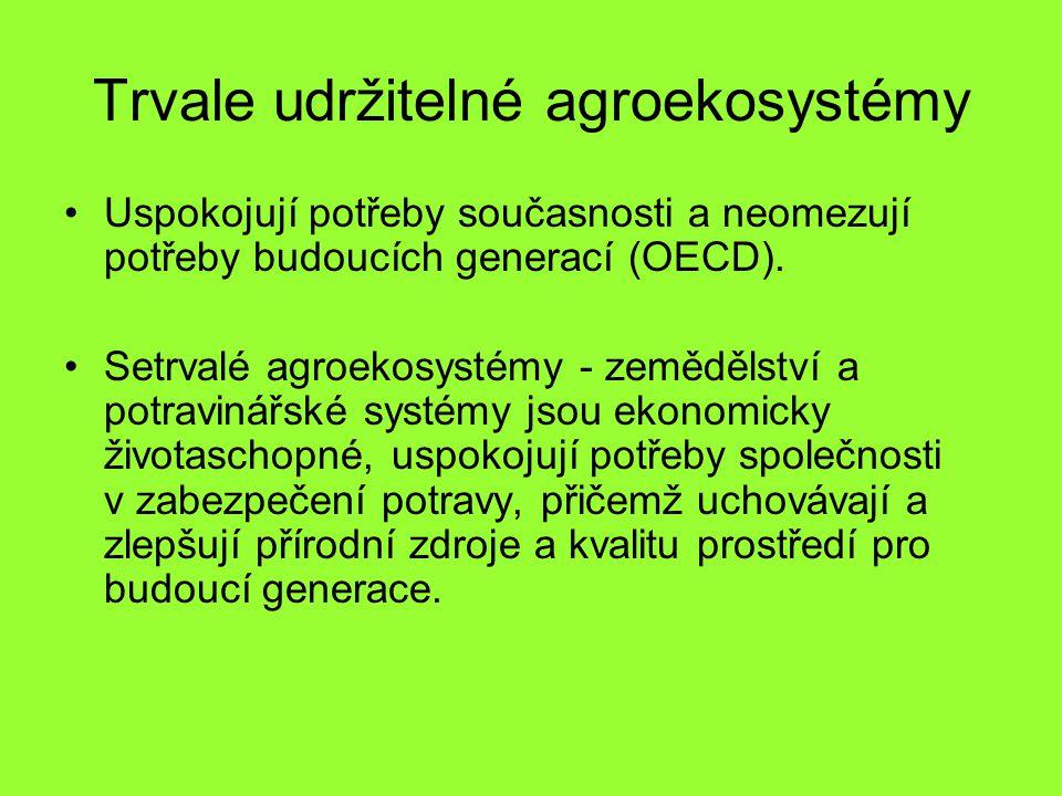 Trvale udržitelné agroekosystémy Uspokojují potřeby současnosti a neomezují potřeby budoucích generací (OECD). Setrvalé agroekosystémy - zemědělství a
