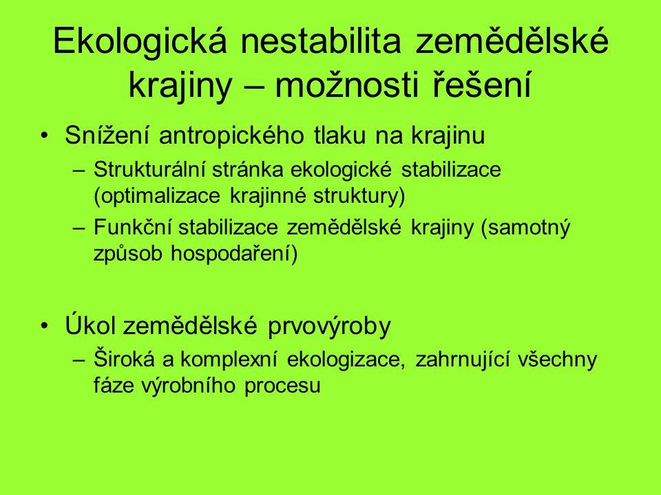 Srovnání různých systémů hospodaření (obecné cíle) (Häni,1990) Koloběh látek –Konvenční: Není uzavřen, vysoká potřeba dodávání externí energie –Integrované: Úsilí o uzavřený koloběh –Ekologické: Na úrovni hospodářství co nejvíce uzavřen (základní princip cyklu) Využití půdy –Konvenční: Optimalizace podle ekonomických kriterií –Integrované: S ohledem na ekologická kriteria ekonomicky optimalizováno –Ekologické: Ekonomicky optimalizováno jen v případě souladu s vysokým ekologizačním stupněm