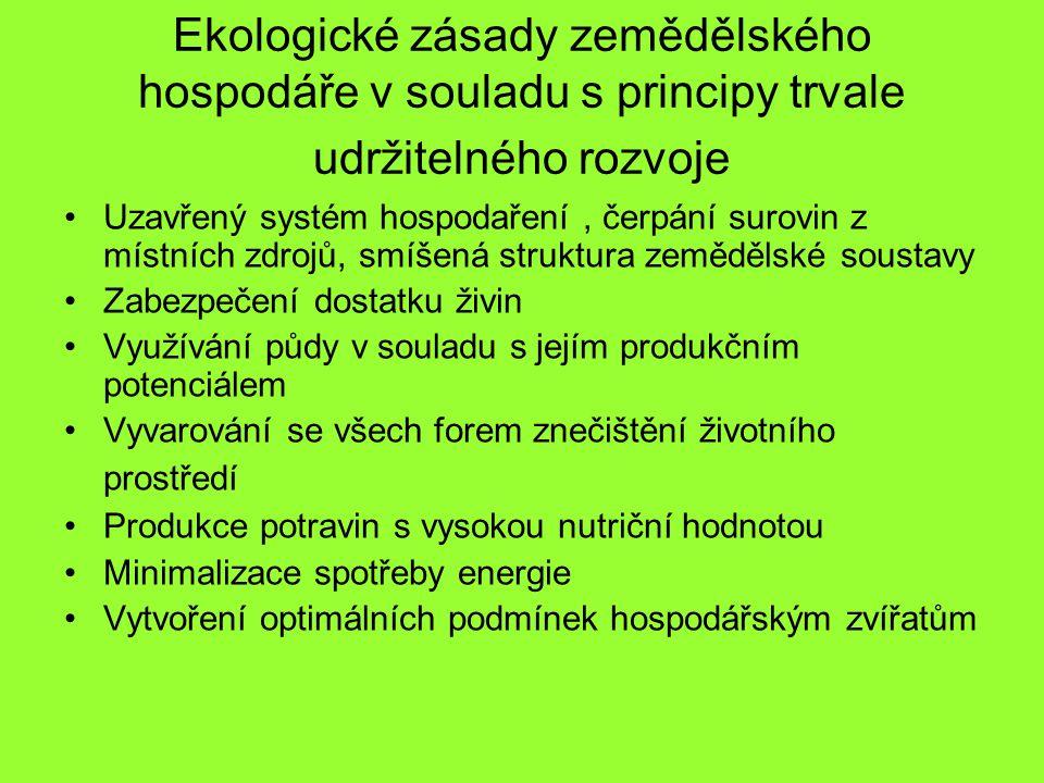 Srovnání různých systémů hospodaření (obecné cíle) (Häni,1990) Pomocné prostředky (včetně energie) –Konvenční: Optimalizace podle ekonomických kriterií –Integrované: Omezeny, v pozornosti ekologická kriteria –Ekologické: Silně omezeny Zátěž životního prostředí, opatření, technika –Konvenční: Tolerována pokud je činnost ekonomická a zákonná –Integrované: Omezena –Ekologické: Silně omezena