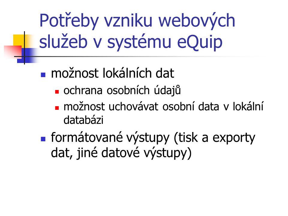 Struktura aplikace Server EquipService (dataSet, jednoduché datové typy, SoapException) webová služba Knihovna EquipShared třídy používané oběma stranama Knihovna SessionLogin EquipUser – data z eQuip databáze MemoryUser – data o validních uživatelých (session) UserLogin – třídy pro ovládání uživatelů (login, logout, delete, MD5) Klient EquipClient Formuláře Reference na webovou službu Knihovna EquipClientTools Nástroje pro chod klienta