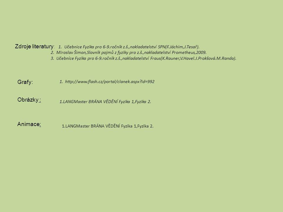 Zdroje literatury : 1. Učebnice Fyzika pro 6-9.ročník z.š.,nakladatelství SPN(F.Jáchim,J.Tesař). 2. Miroslav Šimon,Slovník pojmů z fyziky pro z.š.,nak