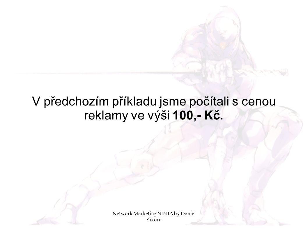 Network Marketing NINJA by Daniel Sikora V předchozím příkladu jsme počítali s cenou reklamy ve výši 100,- Kč.