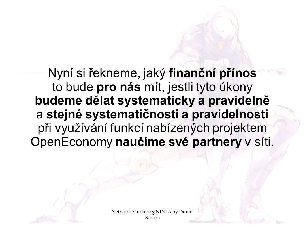 Nyní si řekneme, jaký finanční přínos to bude pro nás mít, jestli tyto úkony budeme dělat systematicky a pravidelně a stejné systematičnosti a pravidelnosti při využívání funkcí nabízených projektem OpenEconomy naučíme své partnery v síti.