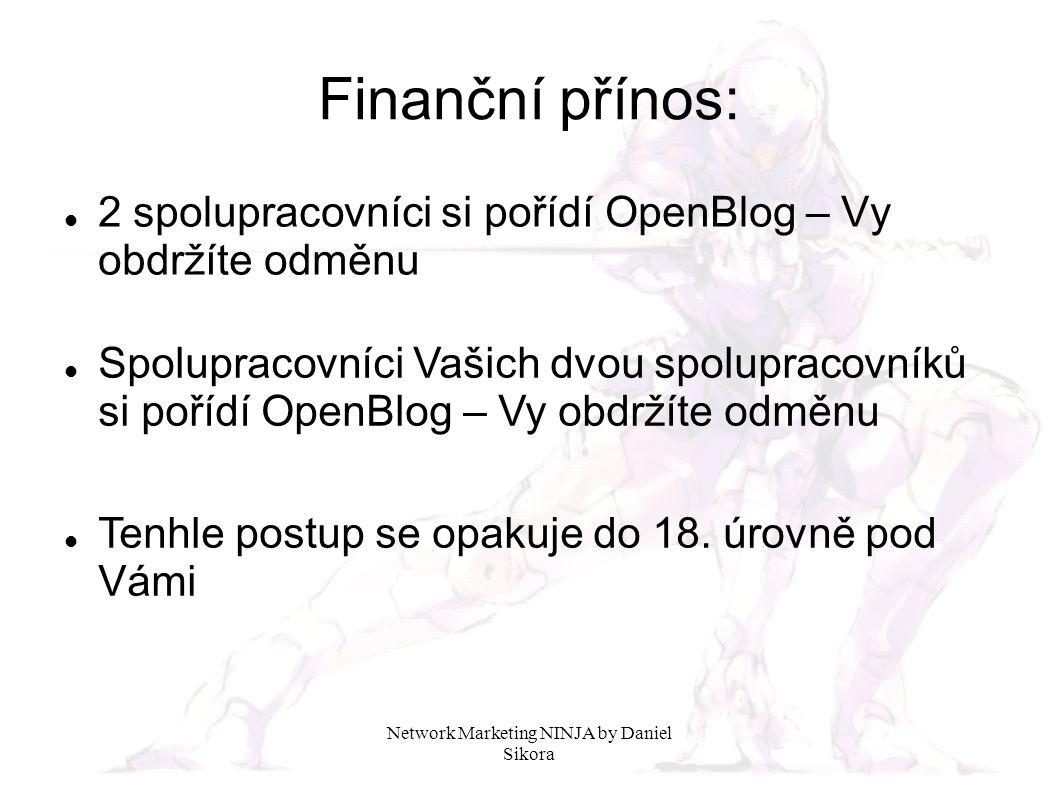 Network Marketing NINJA by Daniel Sikora Finanční přínos: V tomto příkladu si vypočítáme odměny, které mohou doputovat na Váš bankovní účet v situaci, kdy si spolupracovníci postupně aktivují své OpenBlogy.