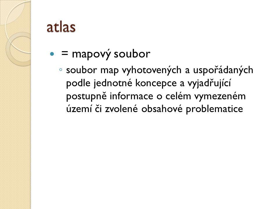 atlas = mapový soubor ◦ soubor map vyhotovených a uspořádaných podle jednotné koncepce a vyjadřující postupně informace o celém vymezeném území či zvo