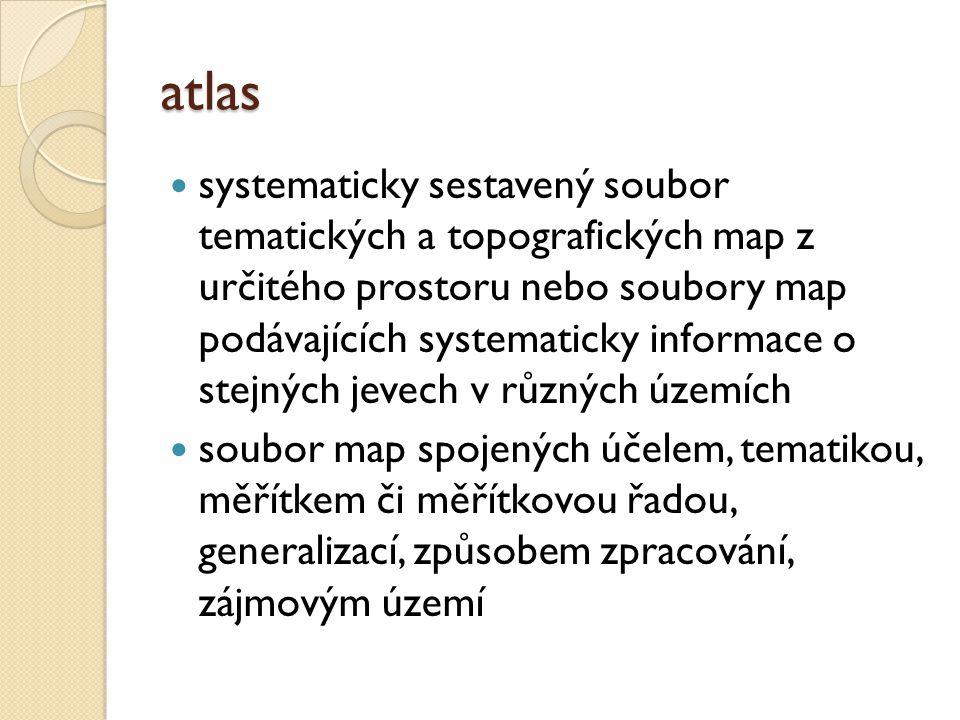 atlas systematicky sestavený soubor tematických a topografických map z určitého prostoru nebo soubory map podávajících systematicky informace o stejný