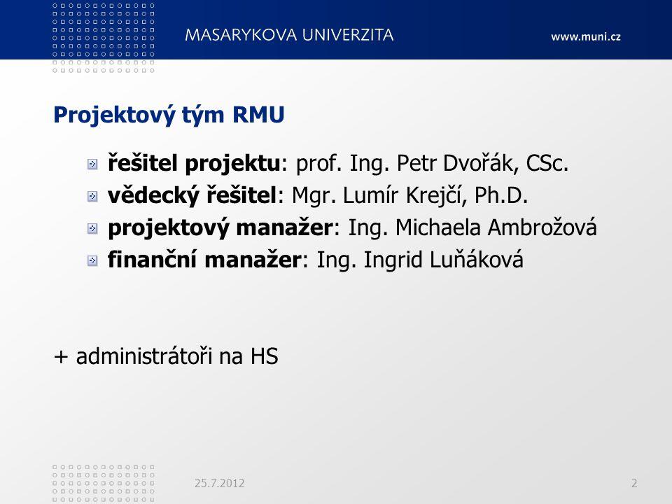 Projektový tým RMU řešitel projektu: prof. Ing. Petr Dvořák, CSc. vědecký řešitel: Mgr. Lumír Krejčí, Ph.D. projektový manažer: Ing. Michaela Ambrožov