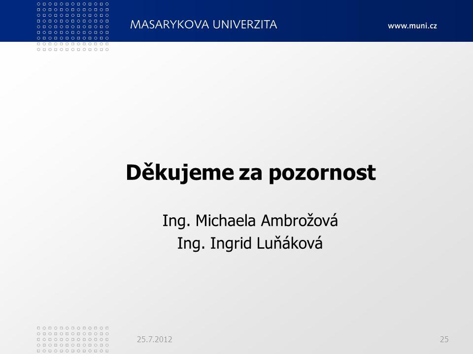 Děkujeme za pozornost Ing. Michaela Ambrožová Ing. Ingrid Luňáková 25.7.201225