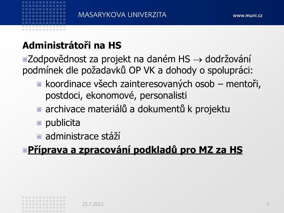 25.7.2012 Administrátoři na HS Zodpovědnost za projekt na daném HS  dodržování podmínek dle požadavků OP VK a dohody o spolupráci: koordinace všech z