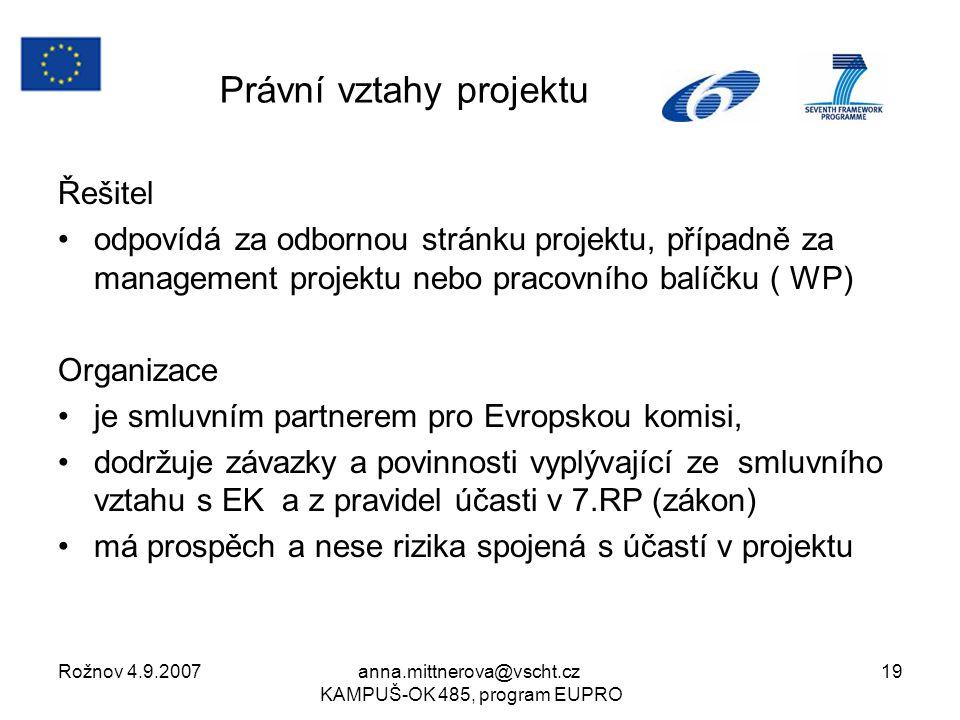 Rožnov 4.9.2007anna.mittnerova@vscht.cz KAMPUŠ-OK 485, program EUPRO 19 Právní vztahy projektu Řešitel odpovídá za odbornou stránku projektu, případně za management projektu nebo pracovního balíčku ( WP) Organizace je smluvním partnerem pro Evropskou komisi, dodržuje závazky a povinnosti vyplývající ze smluvního vztahu s EK a z pravidel účasti v 7.RP (zákon) má prospěch a nese rizika spojená s účastí v projektu