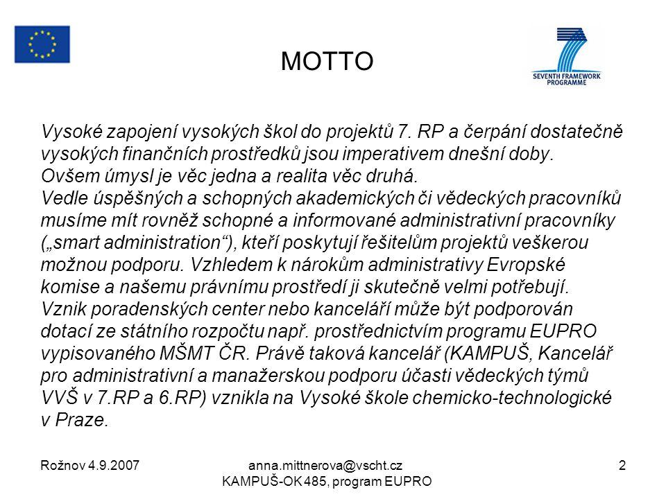 Rožnov 4.9.2007anna.mittnerova@vscht.cz KAMPUŠ-OK 485, program EUPRO 2 MOTTO Vysoké zapojení vysokých škol do projektů 7.